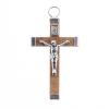 Religous Wood Cross Natural/ Nickle 29x47mm with ring Medium